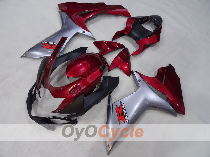 Injection ABS Fairing kit For Suzuki GSXR600 2011-2016 - Red Wine Color, Grey - Factory Style