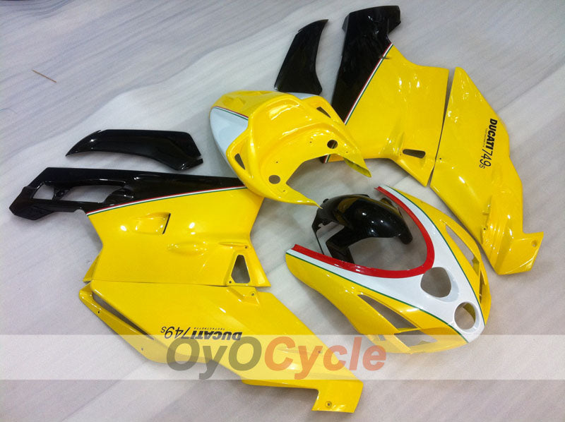 Injection ABS Fairing kit For Ducati 749 2003-2004 - Yellow White Black - Factory Style