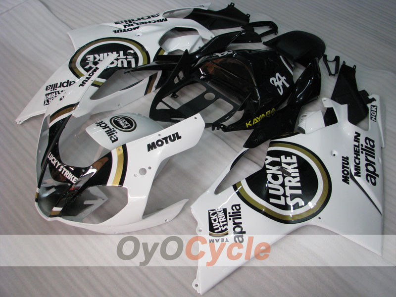 Injection ABS Fairing kit For Aprilia RSV 1000 R 2003-2006 - White, Black - Lucky Strike