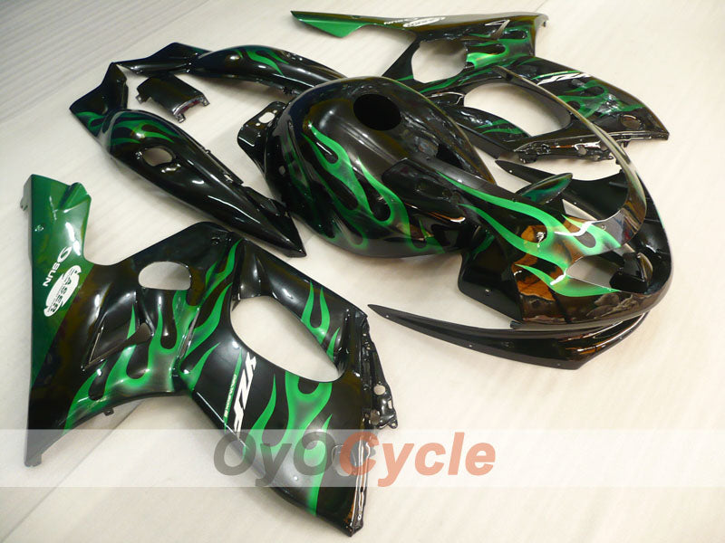 Injection ABS Fairing kit For Yamaha YZF600R 1997-2007 - Green Black - Flame