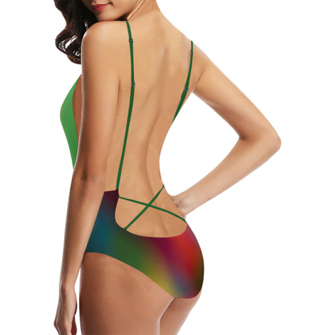 Blurred Lines Women's Backless One-Piece Swimsuit - dianadu-designs
