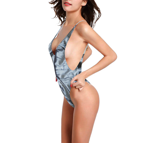 Shimmering Satin Women's Thin Strap Backless Swimsuit - dianadu-designs