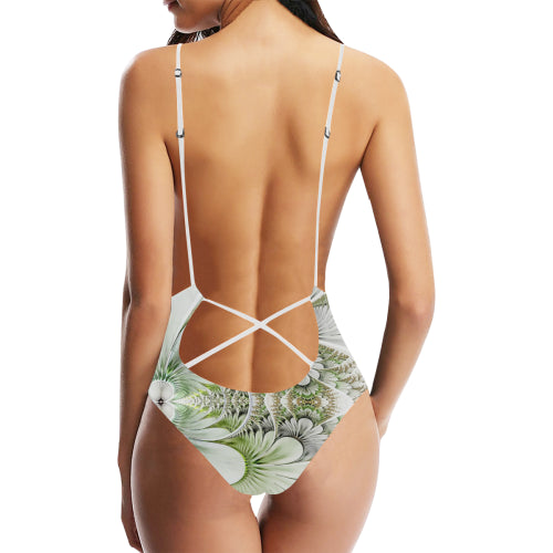 Feathery Elegance Women's Backless One-Piece Swimsuit - dianadu-designs