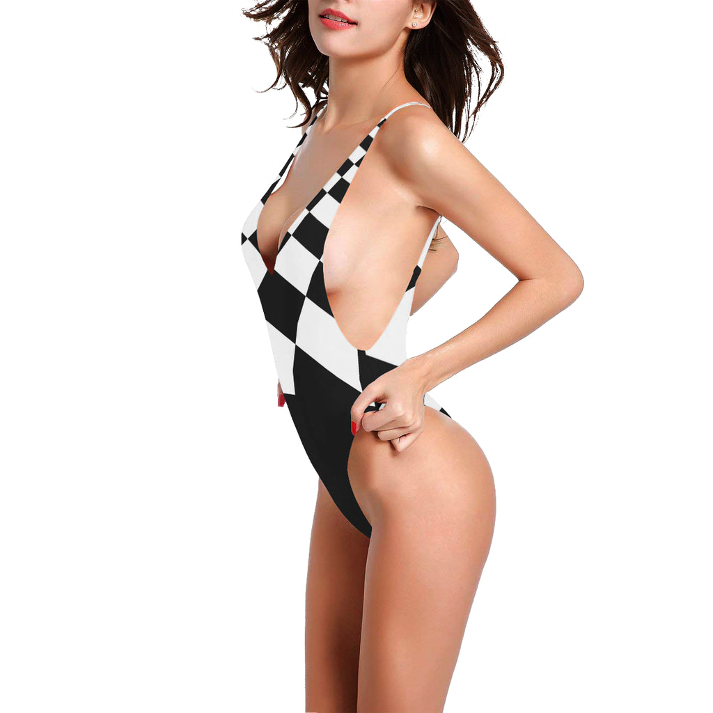 Checkered Flag Women's Thin Straps Backless Swimsuit - dianadu-designs