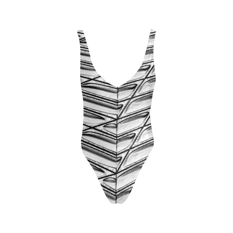Graphic Gray Women's Thin Strap Backless Swimsuit - dianadu-designs