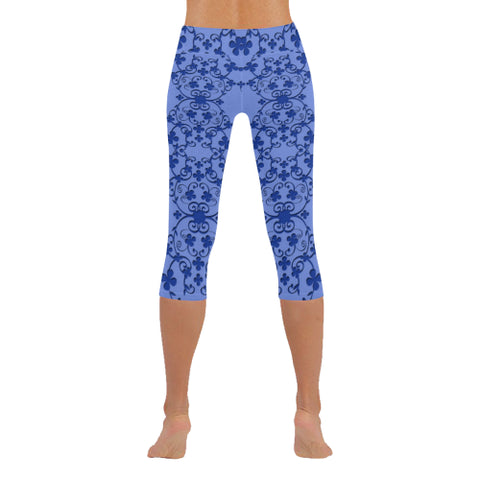 Blue Vintage Low Rise Capri Leggings - dianadu-designs