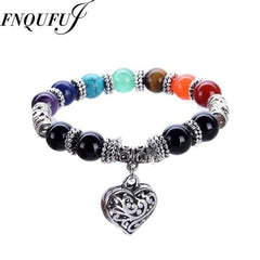 7 Chakra Bracelet Healing Heart Charm with Mala Beads