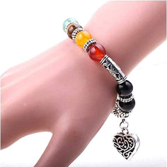 7 Chakra Bracelet Healing Heart Charm with Mala Beads - dianadu-designs