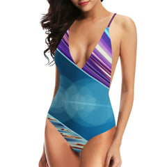 Tequila Sunrise Women's Backless One-Piece Swimsuit - dianadu-designs
