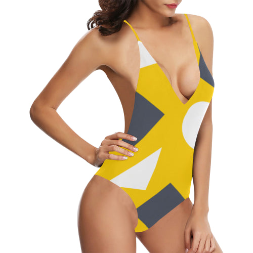 Geometric Abstract Women's Backless One-Piece Swimsuit - dianadu-designs