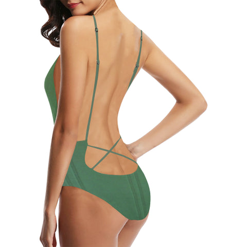 Simply Green Women's Backless One-Piece Swimsuit - dianadu-designs