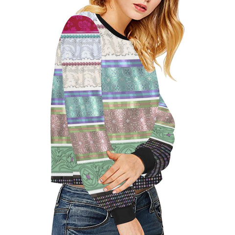 Wrapped Up Women's Cropped Pullover Sweatshirt - dianadu-designs