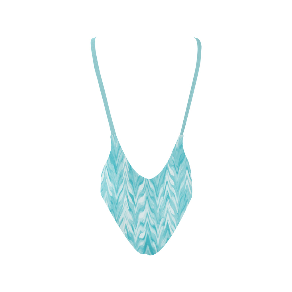 Patterned Waves Women's Thin Strap Backless Swimsuit - dianadu-designs