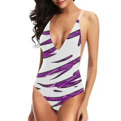 Purple Tornado Women's Backless One-Piece Swimsuit - dianadu-designs