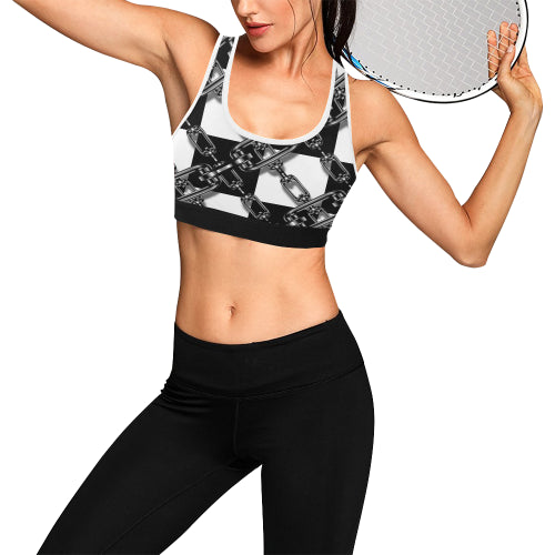 Chained Checkerboard Women's Sports Bra - dianadu-designs