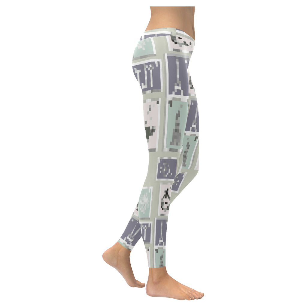 Pixelated Postage Low Rise Leggings - dianadu-designs