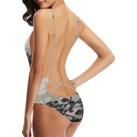 Abstract Flowering Tree Women's  Backless One-Piece Swimsuit - dianadu-designs