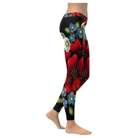Flower Garden Low Rise Leggings - dianadu-designs