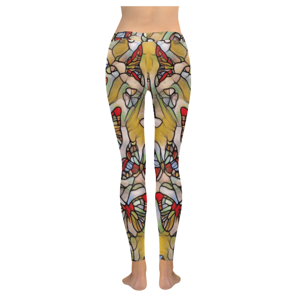 Stained Glass Butterflies Low Rise Leggings - dianadu-designs