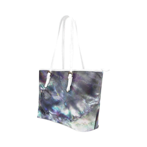 Abalone Landscape Leather Tote Bag - dianadu-designs