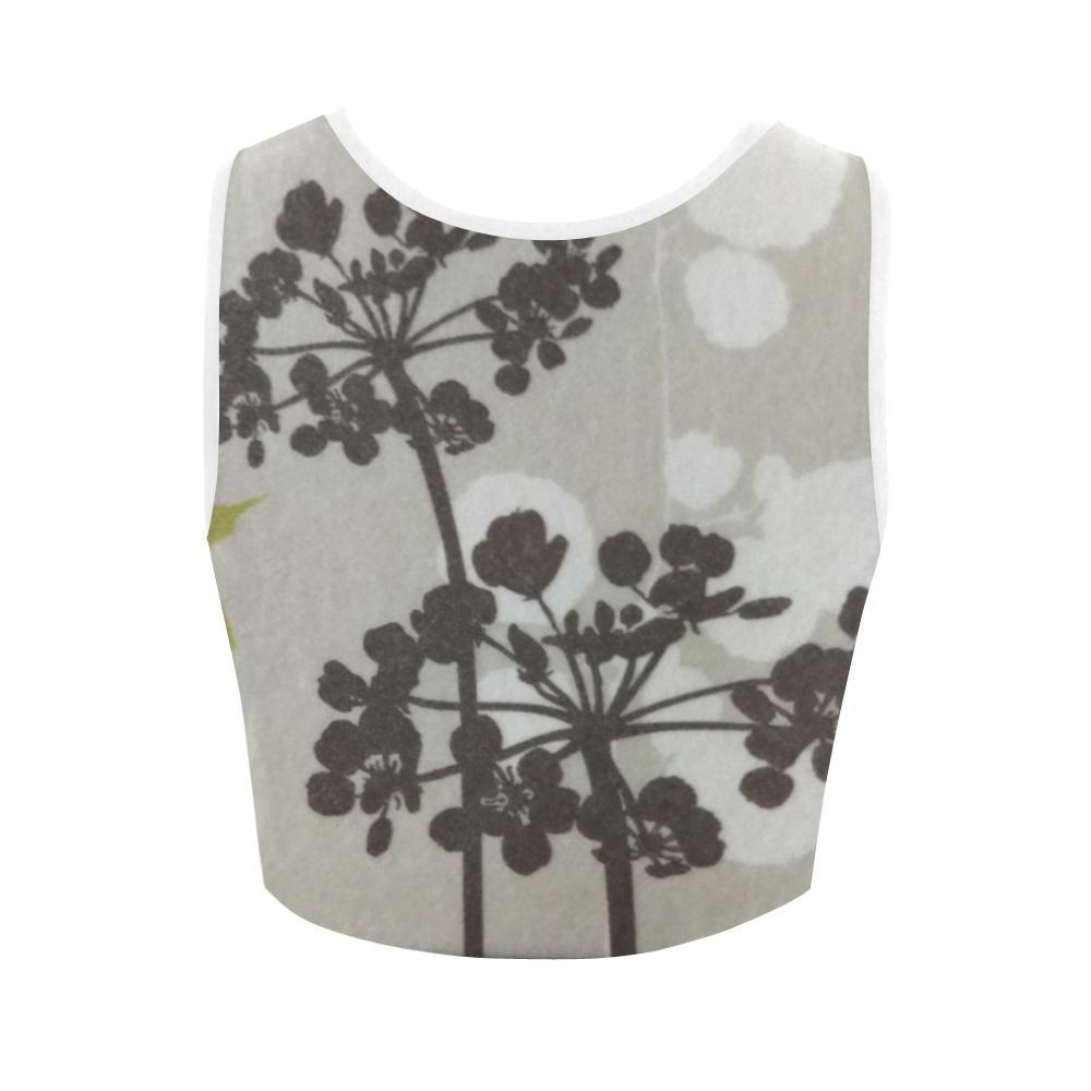 Abstract Flowering Tree Women's Fitted Crop Top - dianadu-designs