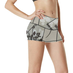 Abstract Flowering Tree Women's Yoga Shorts