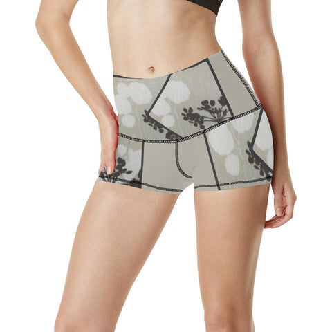 Abstract Flowering Tree Women's Yoga Shorts - dianadu-designs