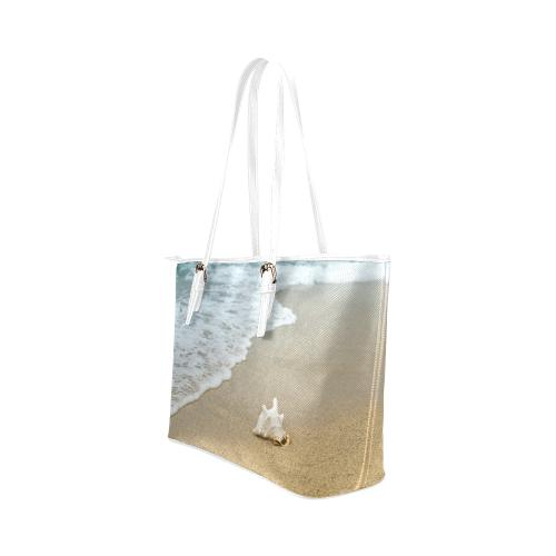 At the Beach Leather Tote Bag - dianadu-designs