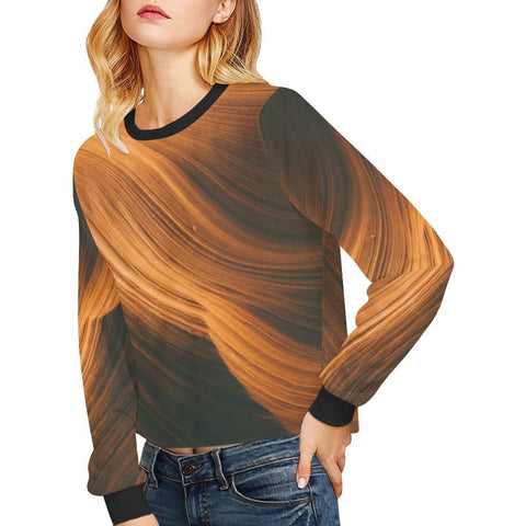 Blonde Waves Women's Cropped Pullover Sweatshirt - dianadu-designs