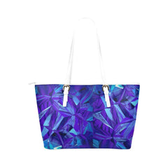Blue Fractals Leather Tote Bag