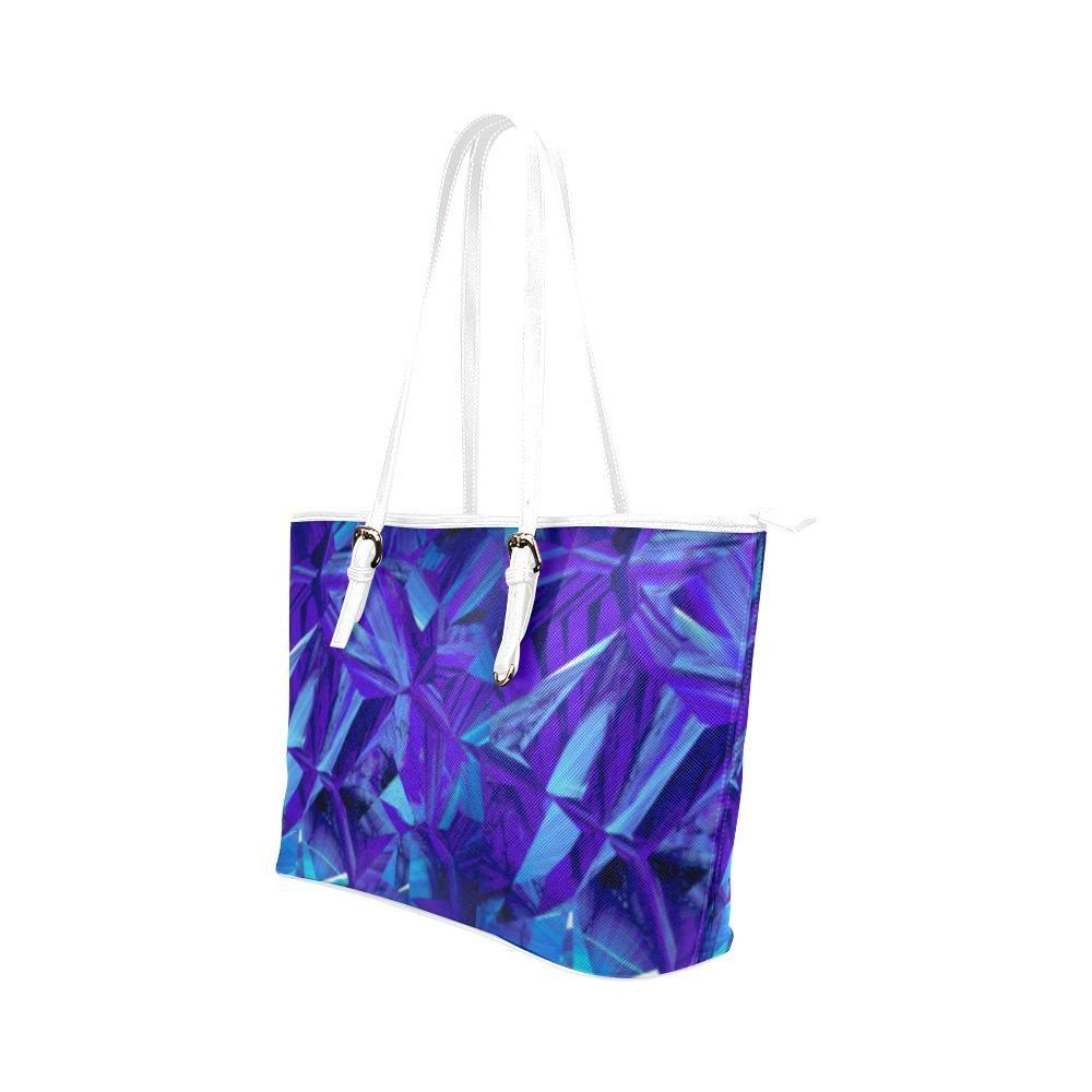 Blue Fractals Leather Tote Bag - dianadu-designs