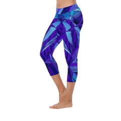 Blue Fractals Low Rise Capri Leggings
