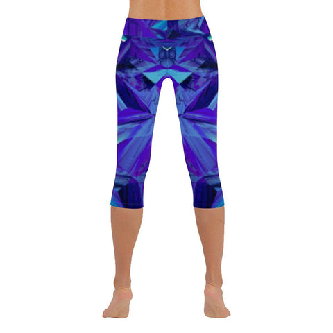 Blue Fractals Low Rise Capri Leggings - dianadu-designs