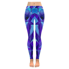 Blue Fractals Low Rise Leggings