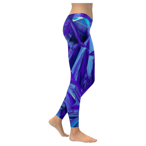 Blue Fractals Low Rise Leggings - dianadu-designs
