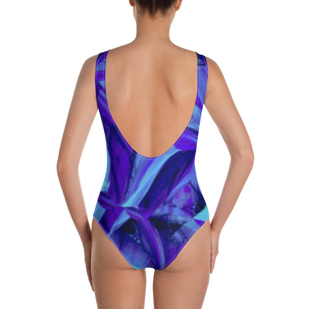 Blue Fractals One-Piece Swimsuit - dianadu-designs