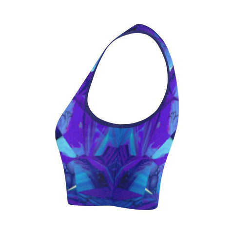 Blue Fractals Women's Fitted Crop Top - dianadu-designs