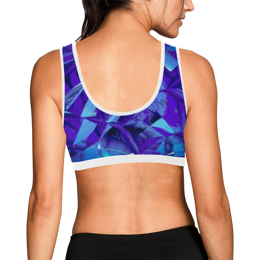 Blue Fractals Women's Sports Bra - dianadu-designs