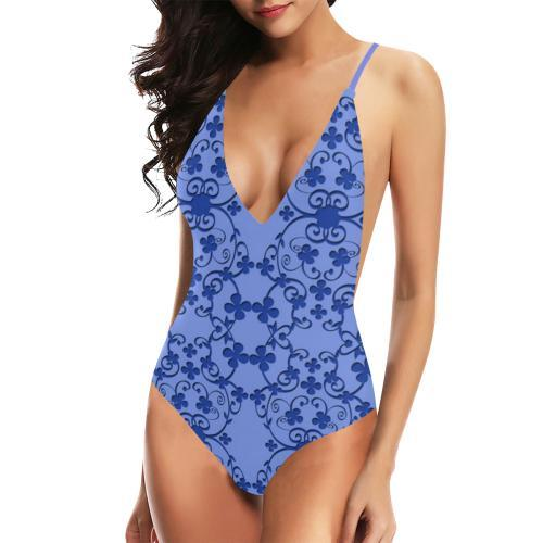 Blue Vintage Women's Backless One-Piece Swimsuit - dianadu-designs