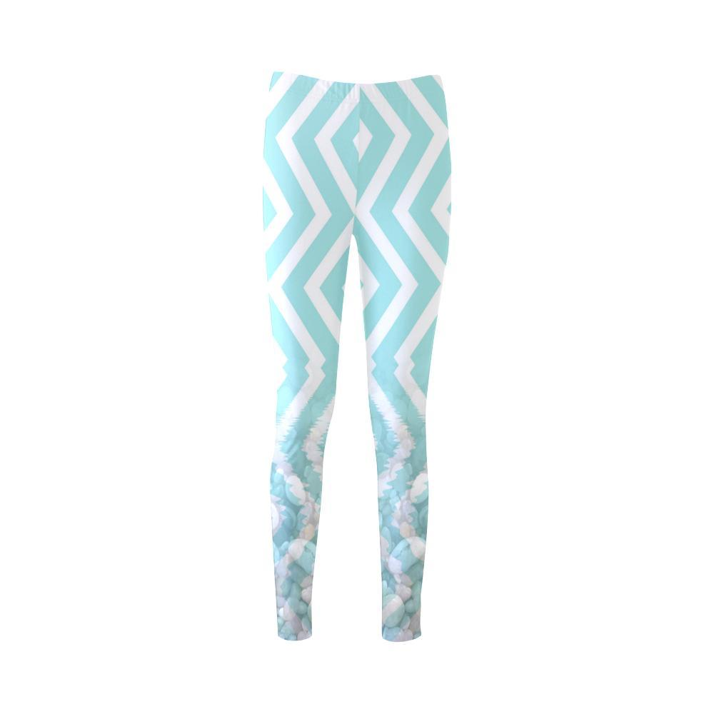 Chevron Waves and Pebbles High-Waist Leggings - dianadu-designs
