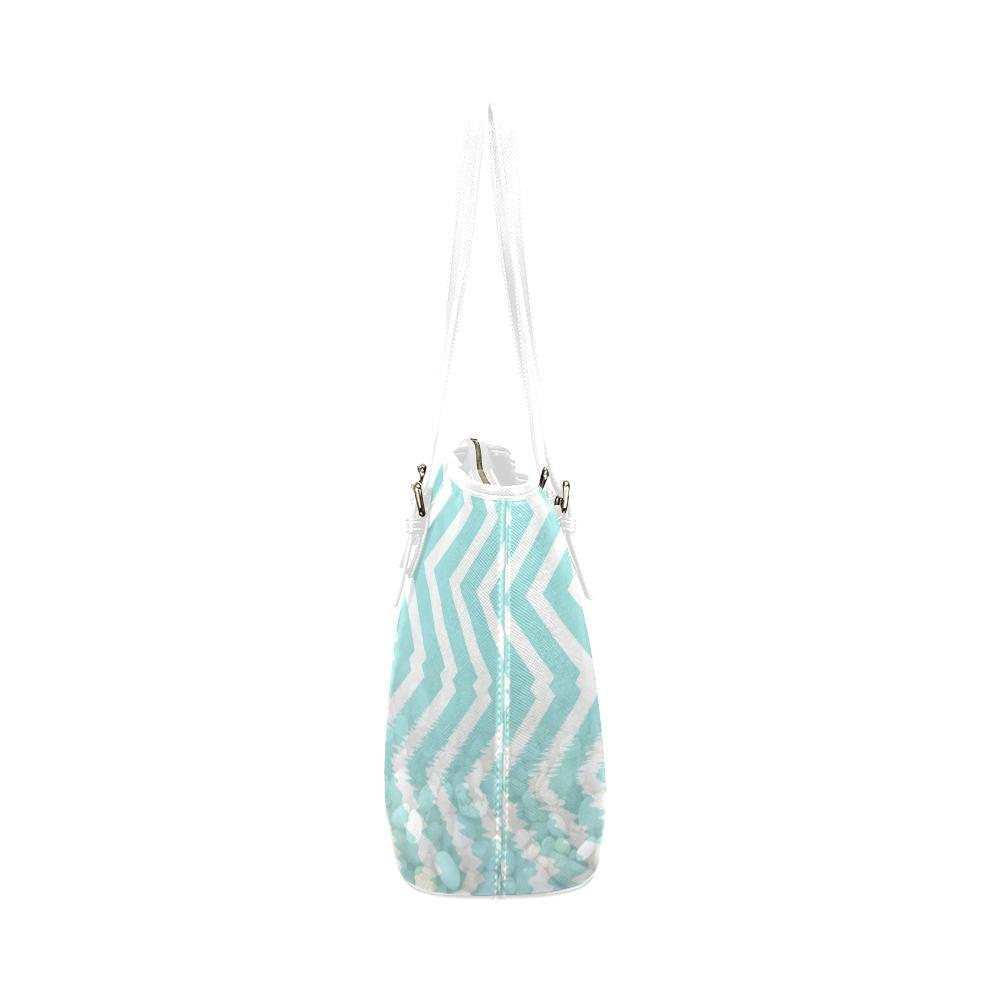 Chevron Waves and Pebbles Leather Tote Bag - dianadu-designs