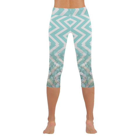 Chevron Waves and Pebbles Low Rise Capri Leggings - dianadu-designs