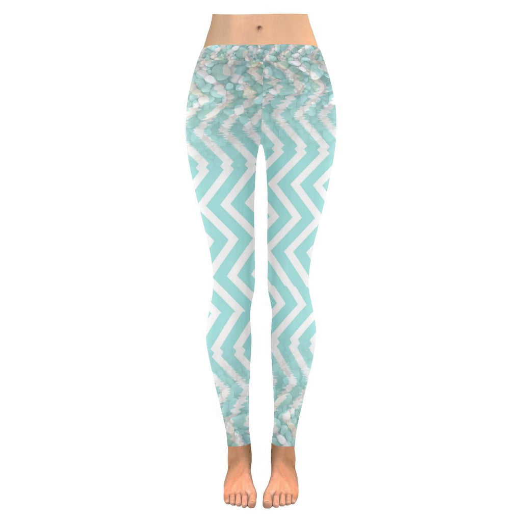 Chevron Waves and Pebbles Low Rise Leggings - dianadu-designs