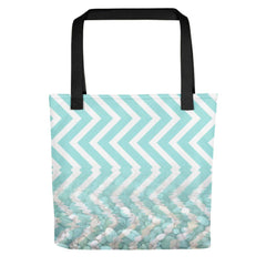 Chevron Waves and Pebbles Tote Bag - dianadu-designs