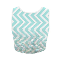Chevron Waves and Pebbles Women's Fitted Crop Top