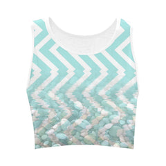 Chevron Waves and Pebbles Women's Fitted Crop Top - dianadu-designs