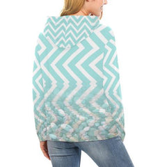 Chevron Waves and Pebbles Women's Hoodie