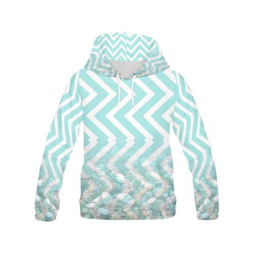 Chevron Waves and Pebbles Women's Hoodie - dianadu-designs