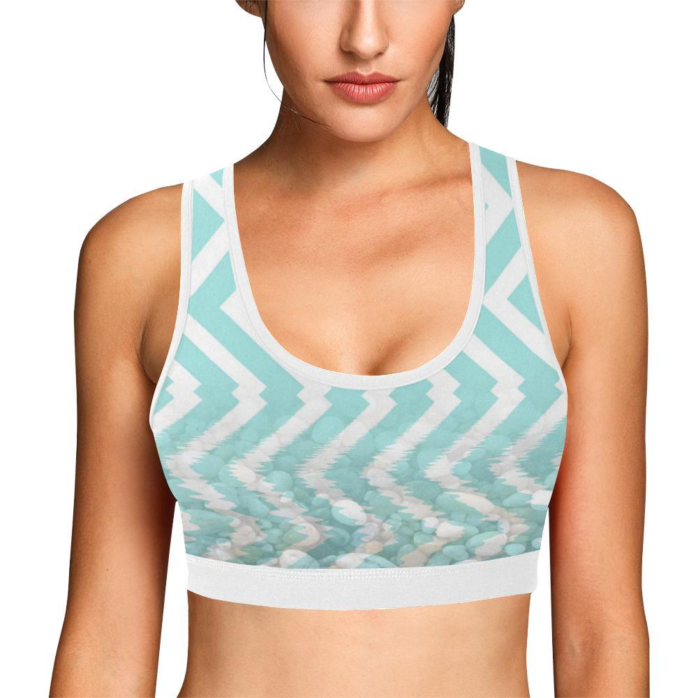 Chevron Waves and Pebbles Women's Sports Bra - dianadu-designs
