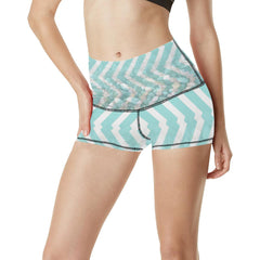 Chevron Waves and Pebbles Women's Yoga Shorts - dianadu-designs